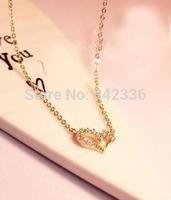 Bulk! 2014 New Fashion Sweet Heart Women Necklace Lady Girlfriend Crystal Gift Wedding Anniversary Romantic Present