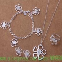 AS242 925 sterling silver Jewelry Sets Bracelet 048 + Necklace 282 + Earring 286 + Ring 183 /ariajipa bdaajuha
