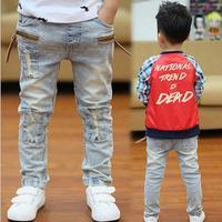 Retail  new spring Boys jeans pants elastic Waist children solid trousers Kids jeans children boy denim pants Free Shipping P52