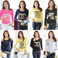 XXXL!!   New Fashion 2014 Autumn Korean  Style  100% female Cotton Long-sleeve T-shirt  Pluse  Size S-XXXL Za  Women