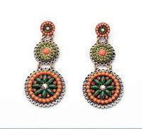 Luxury european trendy long stud earring for women colorful National earrings