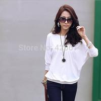2014 Autumn new Korean sexy fashion loose long-sleeved round neck T-shirt  M-XXXXL size  0101990