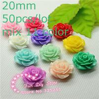 wholesale resin camellia flower 20mm 50pcs/lot mix 11 color flat back cabochon for decoration