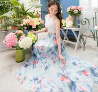 2014 Summer Chiffon Long Skirts Women Fashion Bohemian Maxi Skirt Elastic High Waist Floral Print Casual Skirt Ball Beach Skirts