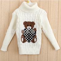 Children's sweaters. Turtleneck sweater. Boys and girls turtleneck bear cartoon sweater