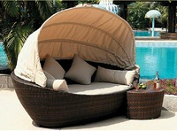 ODLB003 Outdoor circle bed outdoor leisure bed courtyard balcony terrace imitation rattan beach lying bed sun bed