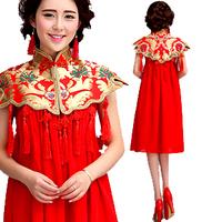 Professional custom red cheongsam improved spring bride wedding toast clothing