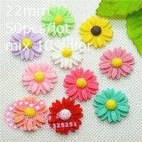 wholesale resin dasiy flower flat back cabochon for decoration 22mm 50pcs/lot mix 10 color