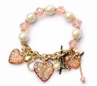 new arrival crystal pearl heart bracelets for women rhinestone fashion european bangle