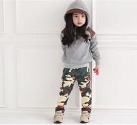 Cool girl suit Autumn suits 2 sets: hoodies + long pants Camouflage color girl suit New arrive