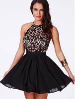 NEW 2014 WOMEN SEXY HALTER LACE HOOK FLOWER BAG HIP SLEEVELESS BACKLESS DRESSES