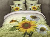 3D yellow white sunflower 3D bedding sets 3d duvet cover set bed sheet pillow caseshams 3d linens free shipping countries B2912