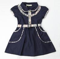 Baby dress 2014 kid's clothing baby girls dress summer  girl's fashion british style dress 100% cotton plaid tutu dress #2238