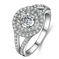 Deluxe  Women's 925 Silver Filled  Round White Sapphire CZ Stone Statement Wedding Ring