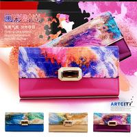 2014 women fashion luxury oil painting flower long wallet genuine leather organizer purse bag rhinestones hasp freeshipping