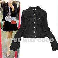 MISS COCO 2014 Autumn New Fashion Black Basic Style Long Sleeve Slim Short Denim Jacket Coat for Women Ladies 1687