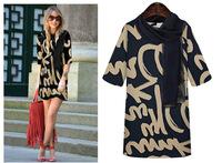 2014 Autumn Design Hot sale Lady's Dress Line Dresses with Scarf