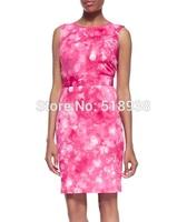 New 2014 autumn winter women fashion cute pink bubbles print sheath dress knee length fitted sleeveless plus size brand dresses