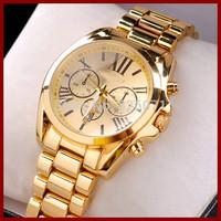 50pcs Gold set auger waterproof men' wristwatch with Roman dial &Date display at 6 o 'clock