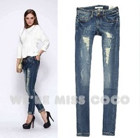 MISS COCO 2014 Autumn New Good Shape Vintage Holes Hot Skinny Denim Jeans for Ladies Women Free Shipping 1672