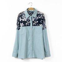 Plus size clothing women spring print denim shirt women's shirt long-sleeve top autumn outerwear XXL free shipping