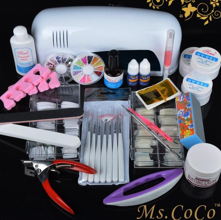 Professional Nail Art Tool kits Sets UV Gel UV lamp Brush Remover Nail Tips Glue Acrylic Free Shipping Nail tools Ms CoCo(China (Mainland))