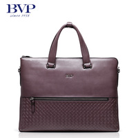 BVP high-end men genuine leather cowhide laptop briefcase messenger shoulder tote portfolio case