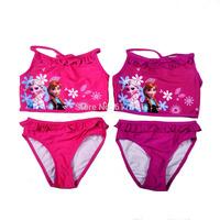Wholesale lot 2014 New Brand two piece swim suit for girls kids girl swimsuit bikini elsa frozen girls swimwear frozen swimwear