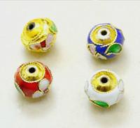 12 pcs Mixed Gold Oblate Cloisonne Beads Enamel Flower Beads For DIY Earrings,Necklace,Bracelet... 8*10mm