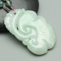 2014 free shipping Light Green 100% Natural Jade Hand-carved Jade Pendant Necklaces Ruyi F005