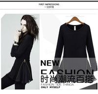 2014 Autumn New Fashion O-Neck Knitting Fleece Slim Side Zipper Patchwork Chiffon Long-Sleeve Above-Knee Women Dress in Stock