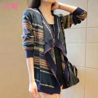 2014 Women coat autumn sweater female cardigan cape outerwear sweater vintage all-match loose