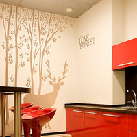 New Arrival the love forest deer and tree wall decals FREE SHIPPING DIY art wall decor Huge size