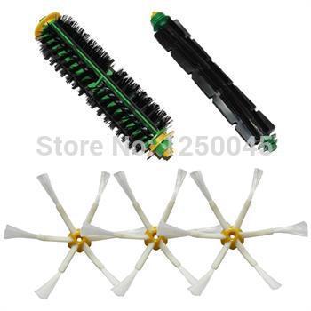 Batedor flexível escova de cerdas da escova & Side 3 armado para iRobot Roomba 500 Series 510 530 535 540 550 560 Frete Grátis(China (Mainland))