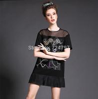 M32818 free shipping high degree silk 5XL plus size sexy dress
