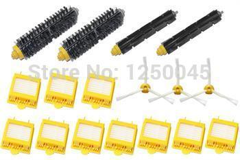 Batedor flexível escova de cerdas de escova Side 3 Armed & HEPA Filtros de pacote para iRobot Roomba Série 700 760 770 780 Frete Grátis(China (Mainland))