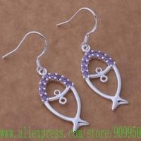 AE583 925 sterling silver earrings , 925 silver fashion jewelry , fish inlaid purple stones /bfaajwha gicaozja