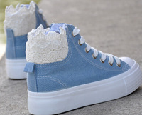 2014 spring and Autumn New Lace style thick bottom female Gao Bang canvas shoes leisure shoes