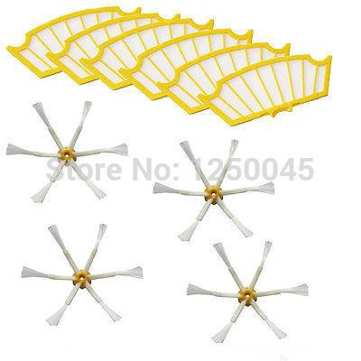 4 escovas laterais 6 Armadas + 6 Filtros para iRobot Roomba 500 Series 530 550 560 570 580 Frete Grátis(China (Mainland))