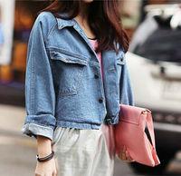 New 2014 autumn loose plus size short design long sleeve denim jackets,all-match woman clothes coat casacos femininos,Specials
