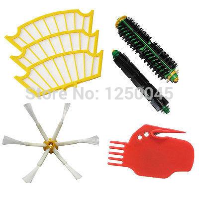 Batedor flexível escova de cerdas 6 Set armado e Filtro para iRobot Roomba série 500 530 550 560 570 580 Frete Grátis(China (Mainland))