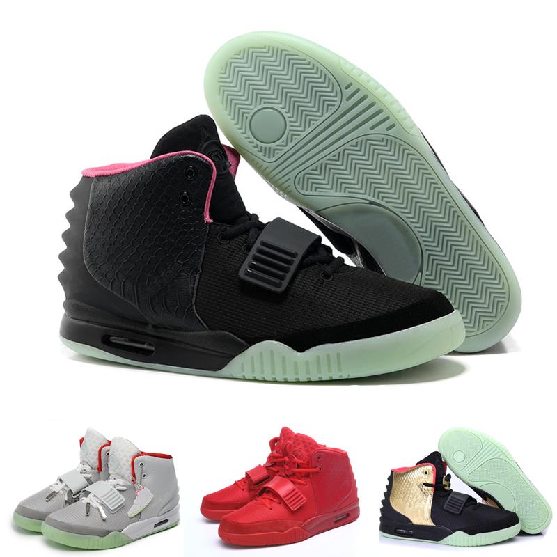 Yeezy Air 2 para venda kanye west brilho nos sapatos escuros 2014 homens tênis de basquete atlético dos homens outubro vermelho(China (Mainland))