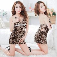 2014 New Lady Sexy Pajamas Sexy Leopard Lace Babydoll Nightdress Free shipping
