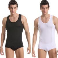 Male bodysuit sexy one piece underwear tight ultra-thin transparent gauze viscose jumpsuit shaper