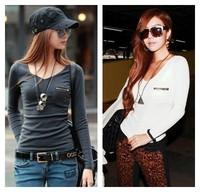 New 2014 Women Elegant V-neck Pocket Zipper Trim Tees Long Sleeve T-shirts Classic Style Slim Tops Solid Color T Shirt Clothing