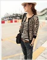 new autumn 2014 fashion hot sale women leopard patchwork O-neck short design jacket woman clothes coat,slim all-match jackets