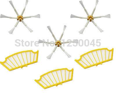 3 Pack Filtros + Escova lateral 6 braços para iRobot Roomba 500 Series 530 550 560 570 580 Frete Grátis(China (Mainland))
