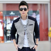 2014 spring and autumn male jacket stand collar thin outerwear baseball uniform slim casual shirt plus size