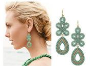 E0158 Korean national wind earrings European and American fashion personality exaggerated elegant pearl earrings wild rice