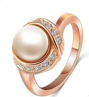 (3PCS/LOT) -Elegant Crystal PEARL Ring 18K Gold Plated Made with Genuine Austrian Crystals Full Sizes Wholesale-R002